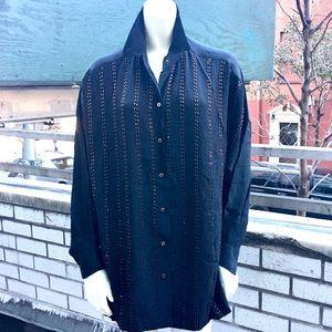 Ellen Tracy 1990s Black Silk Rust Bead Big Shirt 6